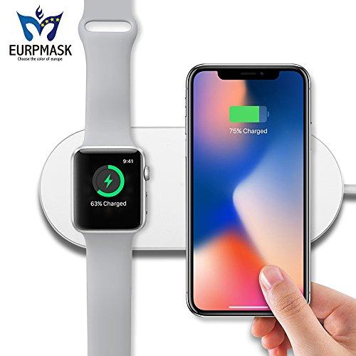ワイヤレス 充電器【革新2in1】Qi 急速 Apple WatchとiPhoneX/8/8 Plus同時に充電可能 EURPMASK Apple 7.5w/Samsung 10W 急速充電対応 置くだけ充電 iPhone X /iPhone 8 /iPhone 8 Plus /Galaxy S9 /S9 Plus /Note8 /S8 /S8 Plus / S7 /S7 Edge /Note 5 /S6 Edge Plus などQi対応機種 ワイヤレス充電可能「品質保証」