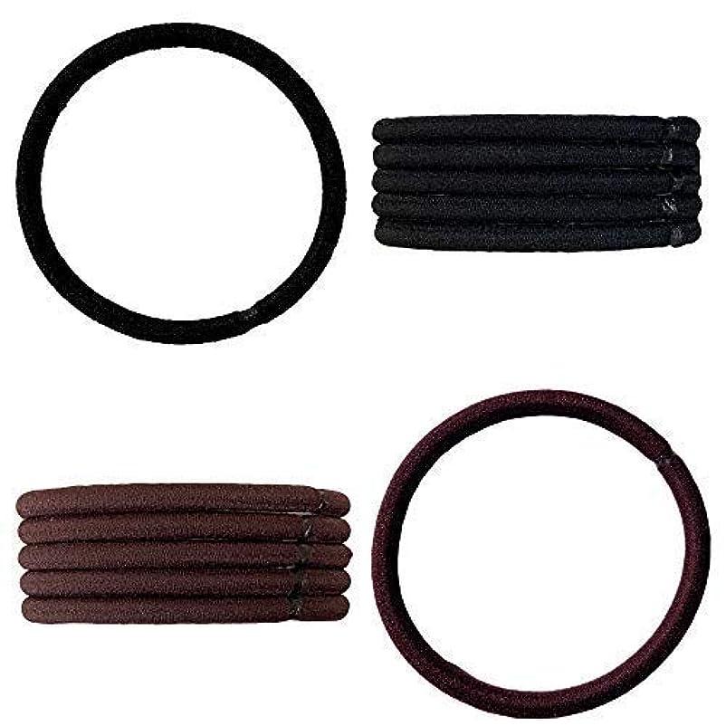 バットスイングかわいらしいクラン ヘアゴム リングゴム 結び目の無い内径 5cm 太さ4mm 高品質ゴム仕様 (黒色 6点&茶色 6点セット)
