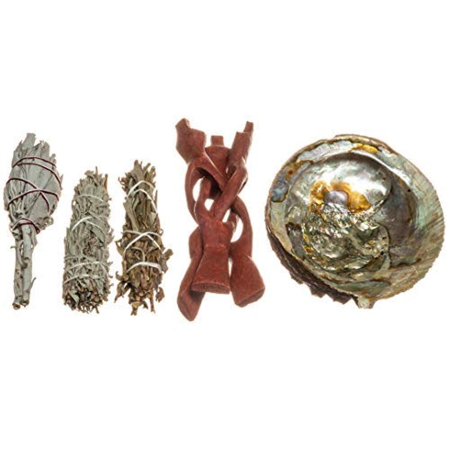 Abalone Smudge Kit | 光沢アバロン貝殻 5インチ - 6インチ | ホワイトトーチセージ、ブルーセージ、ブラックセージ | 3セージスマッジスティック | 1スタンド | スマッジツール | Joseph...