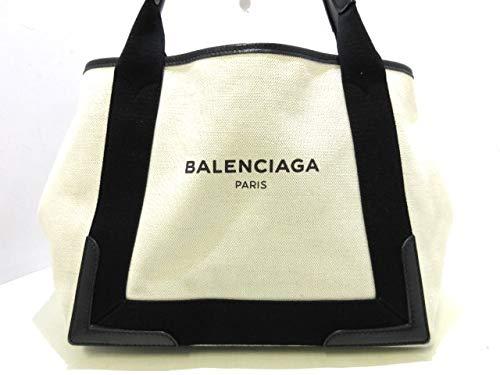(バレンシアガ)BALENCIAGA トートバッグ ネイビーカバS 白×黒 339933 【中古】