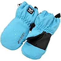 Kids Winter Waterproof Ski Snow Mittens Warm with Zipper for Toddler Boys Girls (Sky Blue, 3-5 Years)