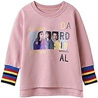Prince EIF Girls Pullover Top Crew Neck Long Sleeve Striped Split Hem Sweatshirt Blouses