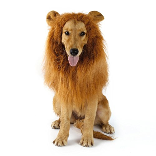 Cimiva ハロウィン ライオン たてがみ 犬用コスチューム 犬用 ライオンコスプレネックウォーマー ブラウン (耳付き)