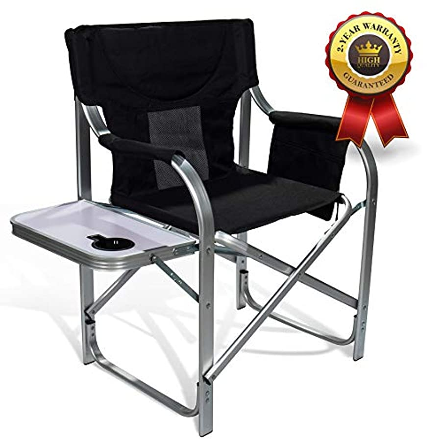 アセステートメント路面電車Light Weight Oversized Portable Chair with Mesh Back Storage Pouch and Folding Side Table for Camping Outdoor Fishing 300 lbs High Capacity [並行輸入品]