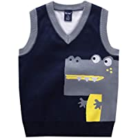 Happy Cherry Baby Boys Vest Thermal Warm Cotton Breathable Knit Sleeveless Sweater 1-2T Blue 1