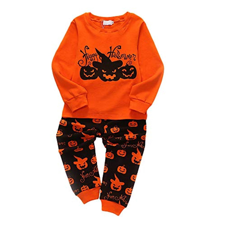 物理的にコスト入るMyMei Tシャツ ロングパンツ セット 長袖 ハロウィン ベビー 子供 キッズ パジャマセット 綿製 可愛い 柔らかい (2A)