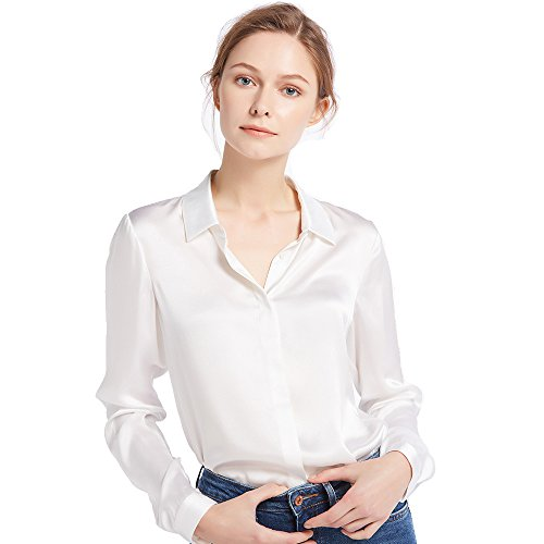 LilySilk(リリーシルク)レディーズシャツ ブラウス シルク【フライフロント】Sサイズ/ホワイト