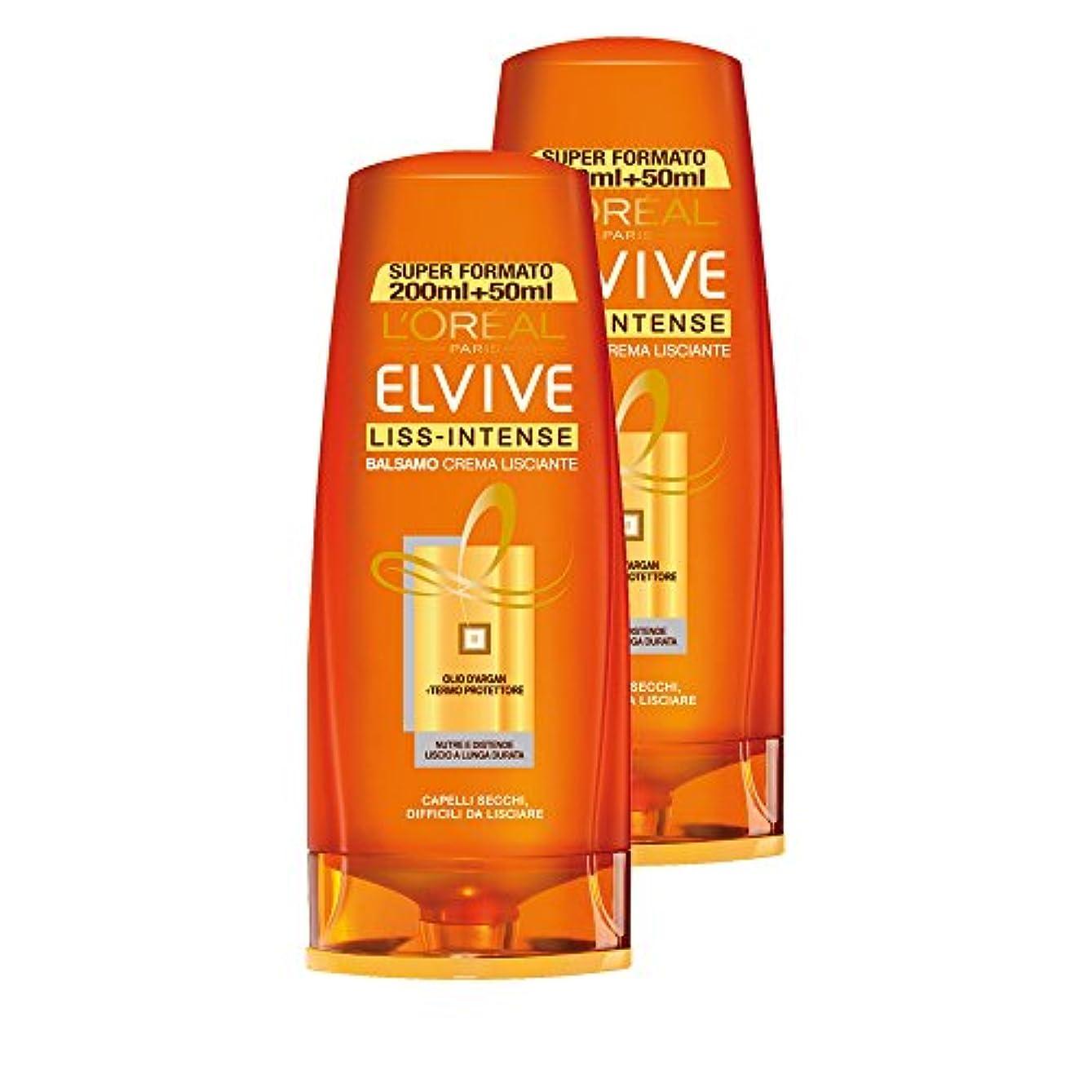 イタリアの泥かんがいL 'OréalParis Elvive LISS-INTENSEバームクリームヘアサロン乾燥、なめらかにするのが難しい、3パック2 x 250 ml、合計:1500 ml