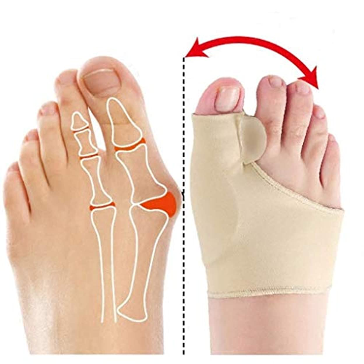イヤホンカナダ麻痺Dyong Thumb Toe Corrector Big Toe Straightener Toe Pain Relief Sleeve、Bunion Splint Support Sleeve with Built-in Silicone Gel Pad for Hallux Valgus Pain Relief
