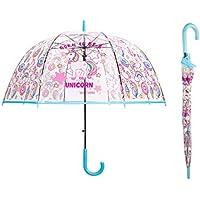 Saisong Clear Bubble Umbrellas with Unicorn Transparent Dome Umbrella Auto OpenWindproof for Kids