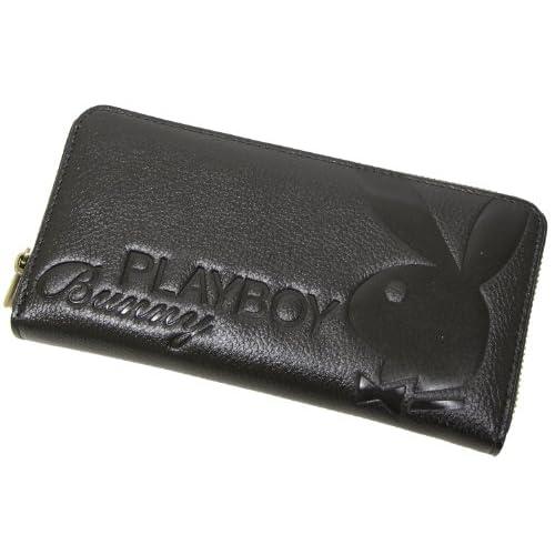 (プレイボーイ)PLAYBOY 合皮エンボスラウンドファスナーロングウォレット(長財布) ブラック
