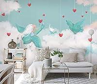写真の壁紙の壁画 飛んでいる鳥白い雲モダンなミニマリスト ステッカー寝室のリビングルームのテレビの背景家の装飾 250cm x 175cm