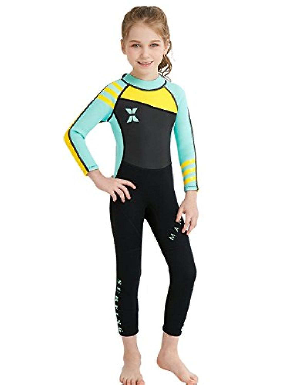 Nataly Osmann 2.5MM 子供用ウェットスーツ キッズウエットスーツ 2.5ミリ 防寒保温連体長袖と短袖フルスーツ 女の子用ダイビングスーツ 日焼け止めの水着