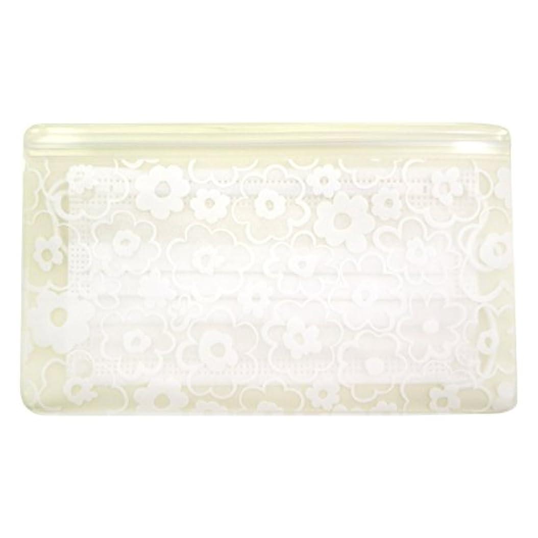 シャーク蒸発する丘抗菌マスクケース Wポケット 花柄ホワイト いやあらっくす