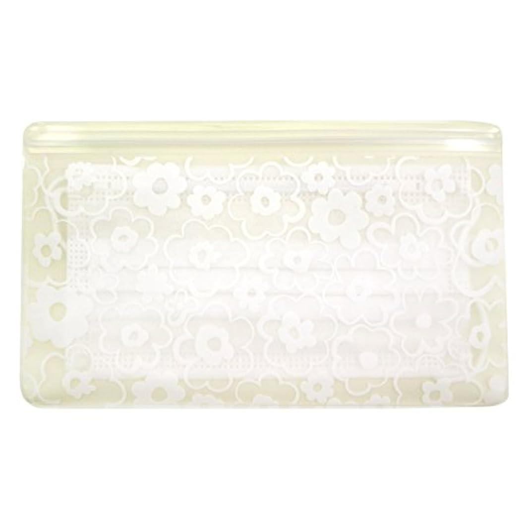 摩擦改修批判的に抗菌マスクケース Wポケット 花柄ホワイト いやあらっくす