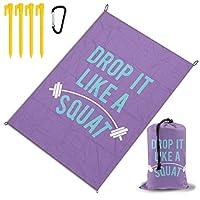 スクワットのようにドロップ レジャー旅行シートピクニックマット防水145×200センチ折りたたみキャンプマット毛布オーニングテントライトと収納が簡単ポータブル巾着