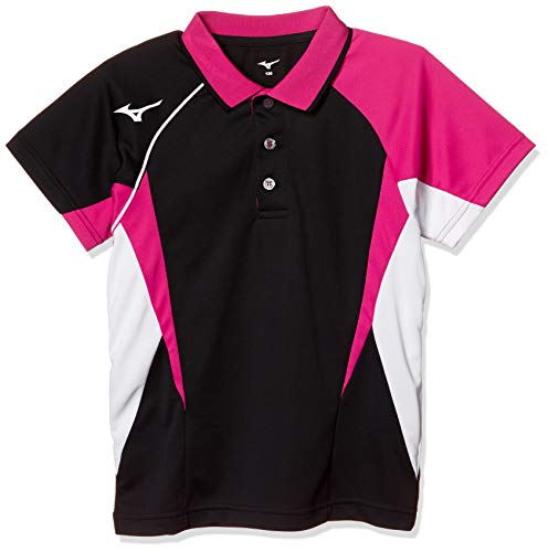 343792d361c0f [Mizuno] テニスウェア ゲームシャツ 半袖 ストレッチ 吸汗速乾 ドライ ソフトテニス バドミントン 認定 ジュニア 62JA8004 キッズ  ブラック 日本 120 (日.