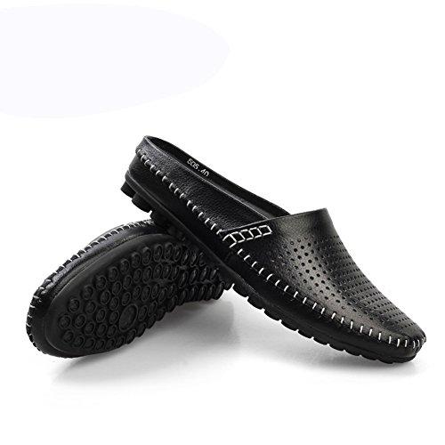 (Wansi) メンズ ビジネスブーツ イギリス風 サイドオープン ブーツ ファッション カジュアル スリッポン フェイクレザー シューズ メンズ サンダル 通気性 スリッパ 靴 ブラック 24.5