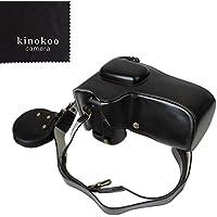 kinokoo NIKON D7500 専用カメラケース 18-140 mm / 18-200 mm / 18-135 mm / 18-105 mm レンズ 対応 カメラバッグ バッテリーの交換でき 三脚ネジ穴付き PUレザー 全面保護型 ショルダーストラップ付き 標識クロス付き (ブラック)