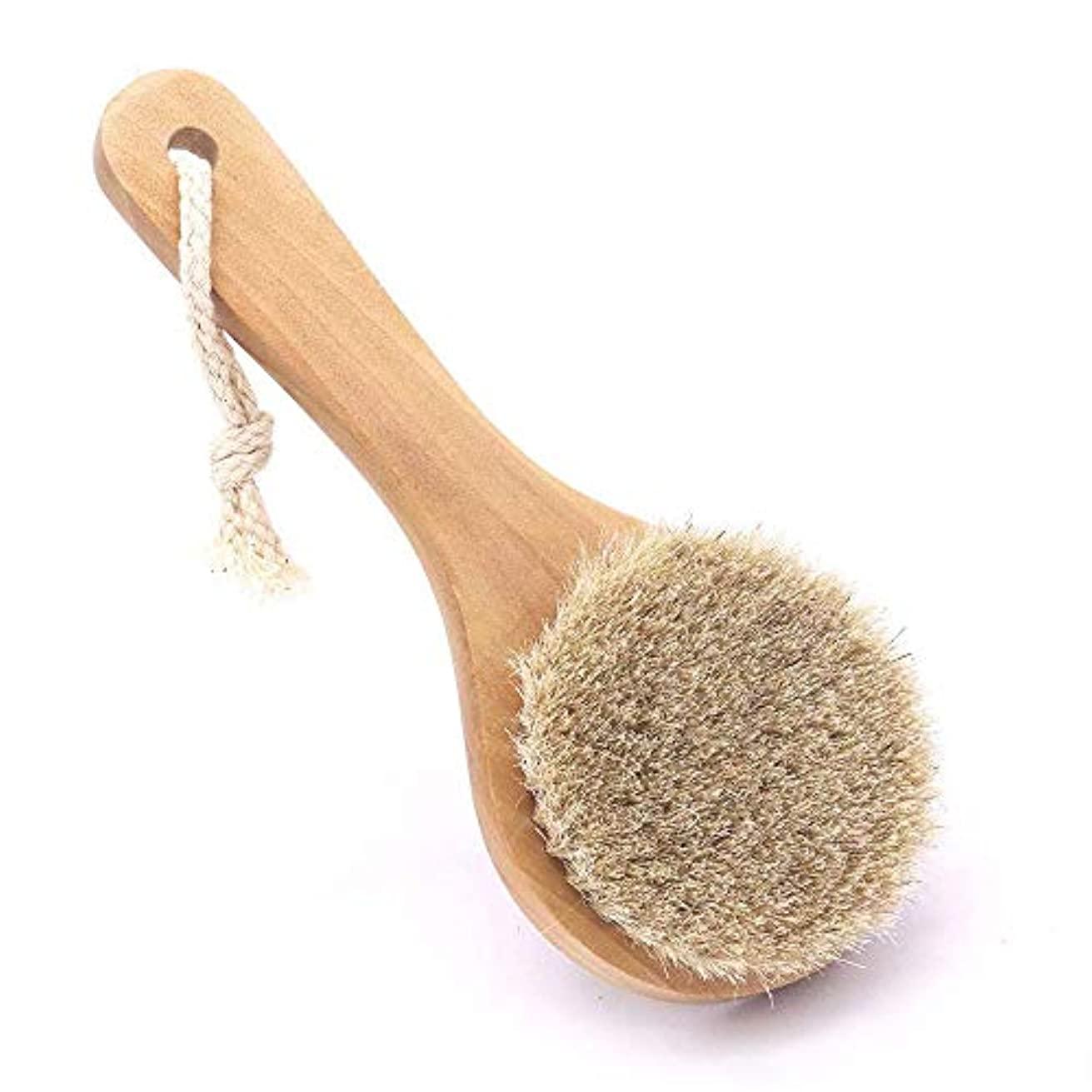 法廷影のある科学者1馬毛ボディブラシ 馬毛 ボディ 洗う 短柄 ボディぶらし 洗身体ブラシ 女性 男性 角質 美肌お風呂用