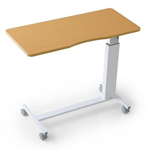 LOWYA (ロウヤ) テーブル ベッドテーブル ガス圧 昇降 66~90cm キャスター付 介護 サイドテーブル ナチュラル ホワイト おしゃれ 新生活