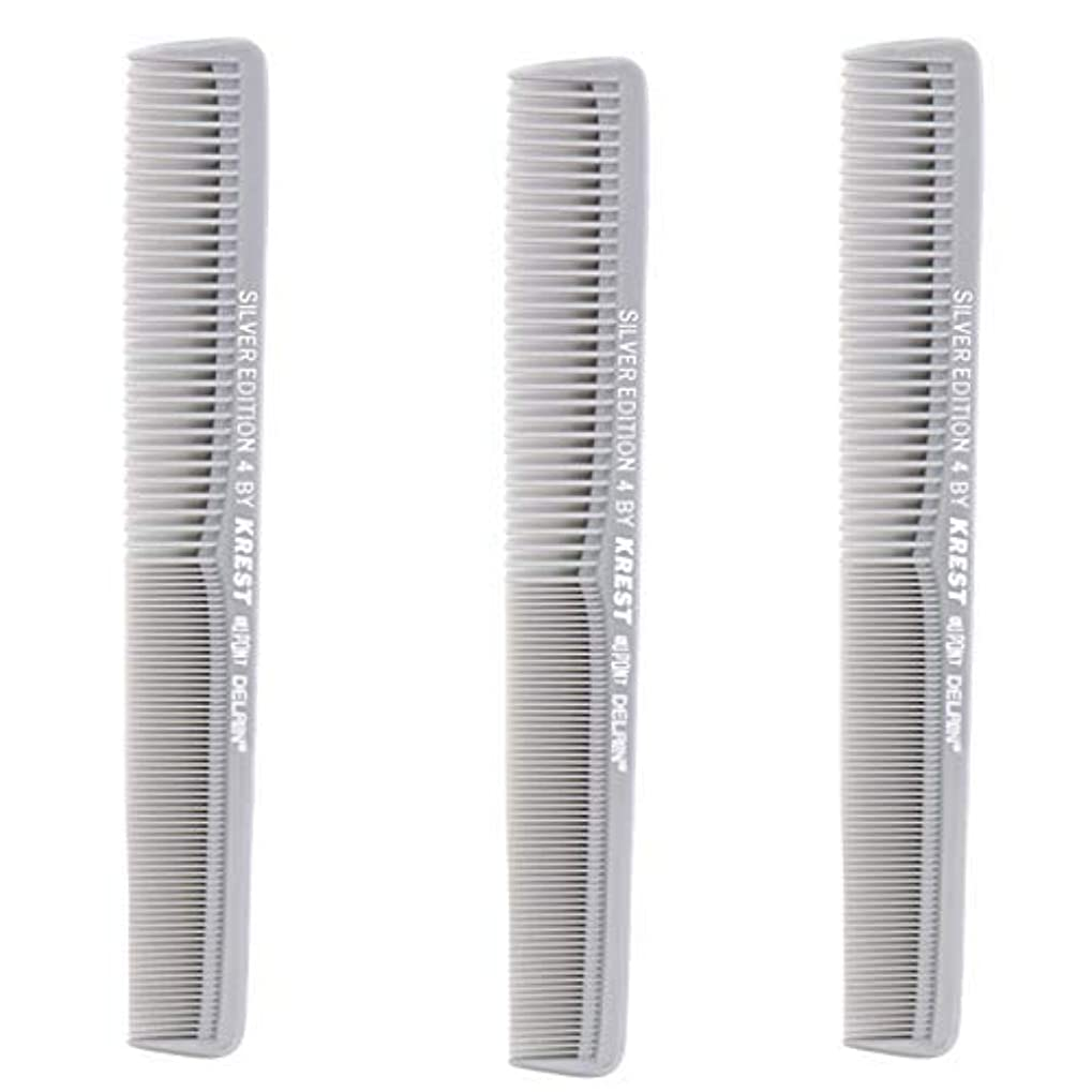 Krest Comb 7 In. Silver Edition Heat Resistant All Purpose Hair Comb Model #4 [並行輸入品]