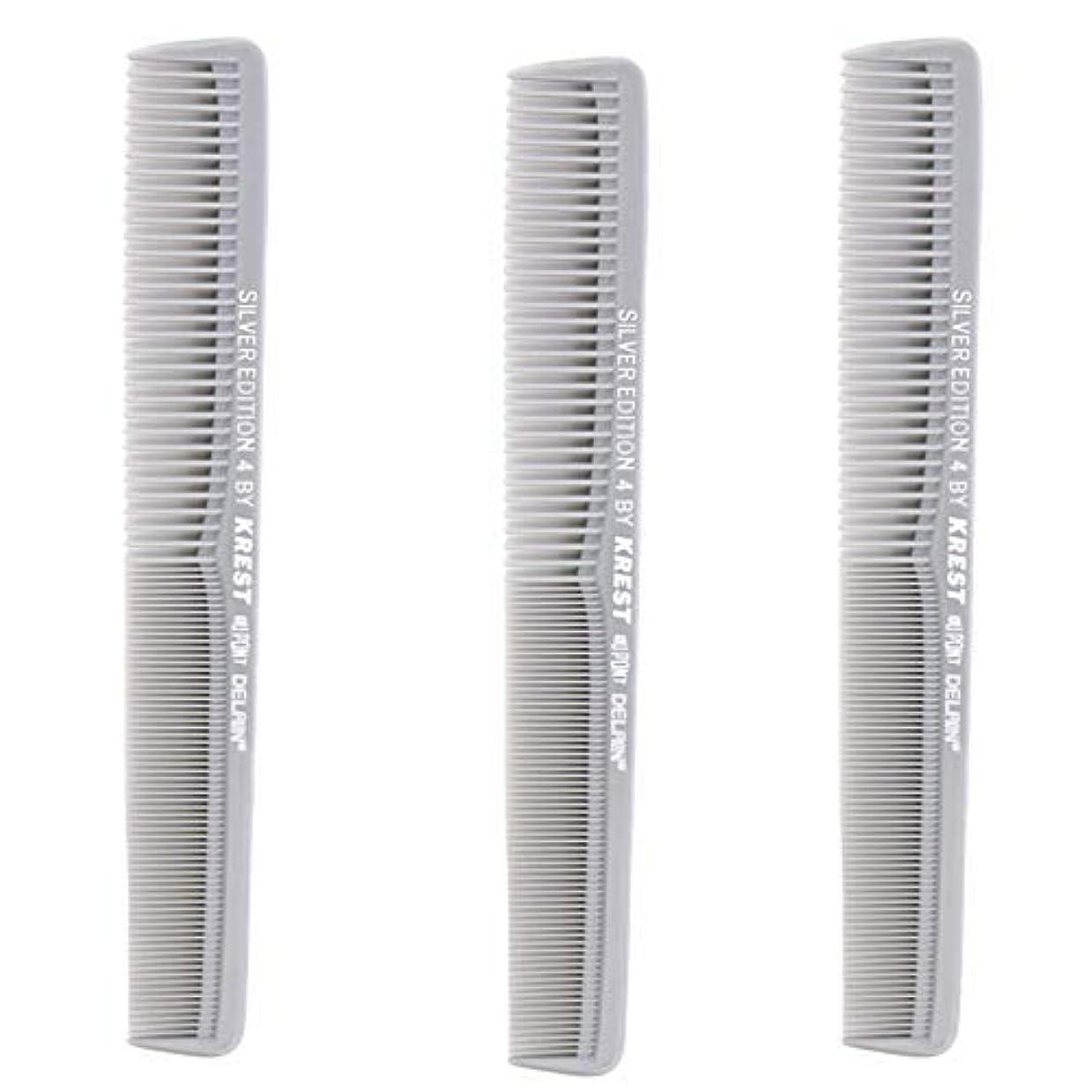 キャリア涙Krest Comb 7 In. Silver Edition Heat Resistant All Purpose Hair Comb Model #4 [並行輸入品]