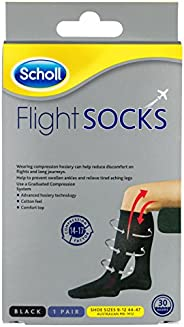 Scholl Flight Socks Compression Hosiery Black M9-12, 1 Count
