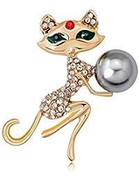 シンプルルーム セクシー Miss Cat Brooches、繊細な合金と模造クリスタル、カーディガン、ファー、セーター、帽子、スカーフなどに最適。女性、女の子、女性、ボックスに理想的なブローチ