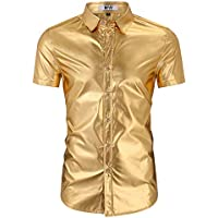 Kuulee MrWonder Men's Bamboo Fiber Dress Shirt Elastic Casual Slim Fit Solid Long Sleeve Button Down Shirts Gold M