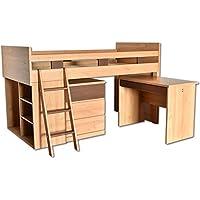 国産無垢材システムベッド ロフトベット Pinokio(ピノキオ) 4点 セット 木製 シングル システムデスク 子供
