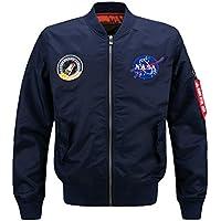 Lavnis Men's Hip Hop Jacket Air Sky Flight Patch Embroidery Slim Fit Bomber Jackets