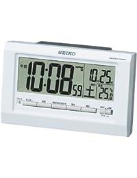 セイコー クロック 目覚まし時計 常時点灯 電波 デジタル カレンダー 温度 表示 夜でも見える 白 パール SQ755W SEIKO