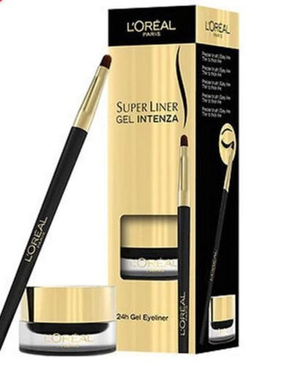 下線前投薬ぼかすLoreal Super Liner Gel 24hr Intenza Eyeliner Pure Black 01