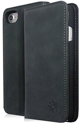 NeedNetwork iPhone 7 アイフォン 手帳型 ケース カバー 本革 レザー 財布型 カードポケット スタンド機能 マグネット式 (iPhone 7, ブラック)