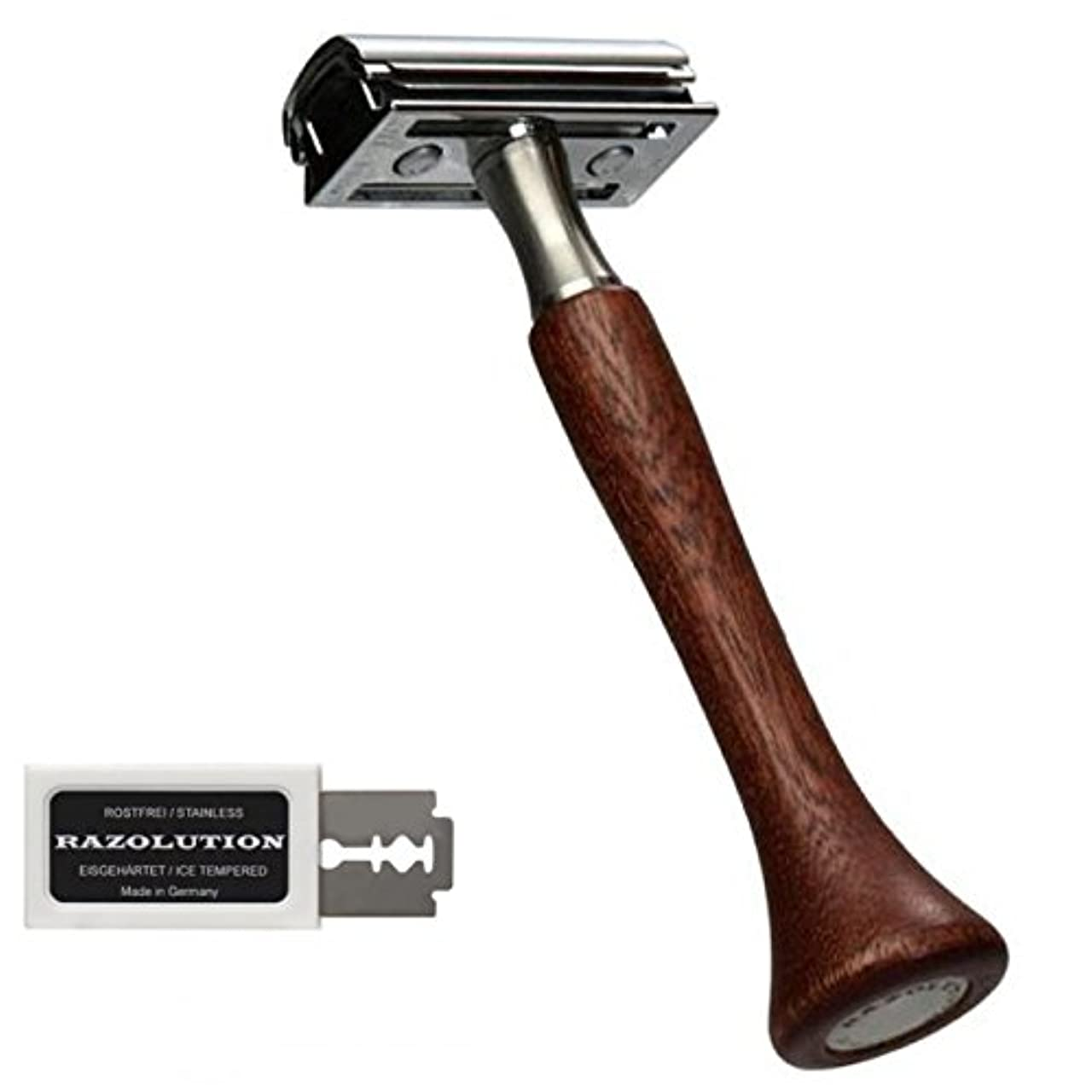 みがきますブッシュレシピRAZOLUTION 4Edge Safety razor, Mahogany handle