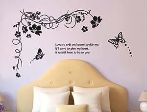 ウォールステッカー エレガントな花と蝶 部屋の壁紙・窓・浴室などの模様替え・インテリアに