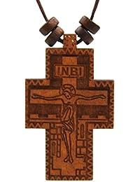 HZMANロシア正教会クロスオリーブ木製Byzantine十字架の祈りペンダントHempコードネックレス、Nika、ickc