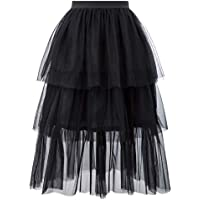 CURLBIUTY Women Tulle Skirt Ballet Tiered Layered Princess Mesh Midi Skirt