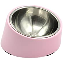 (1.5 Cup, Light Pink) - SUPER DESIGN Detachable Stainless Steel Food Bowl with 15 Degree Slanted Anti-Skid Melamine Stand, for Dogs and Cats