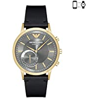 Emporio Armani Black Stainless Steel & Leather Hybrid Smartwatch ART3006
