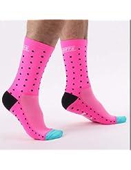 DH04快適なファッショナブルな屋外サイクリングソックス男性女性プロの通気性スポーツソックスバスケットボールソックス - ピンク