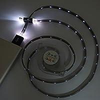 TOPmountain Usb 3.1 Type-C Usbデータケーブル充電器、Led Light Glowing伸縮ケーブルUsbデータケーブル - 黒