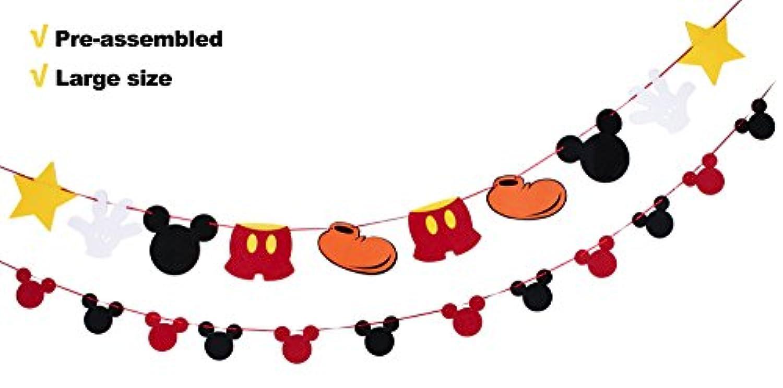 ミッキーマウステーマ誕生日パーティーバナーフェルトガーランドパーティーDecoration Supplies for Kids