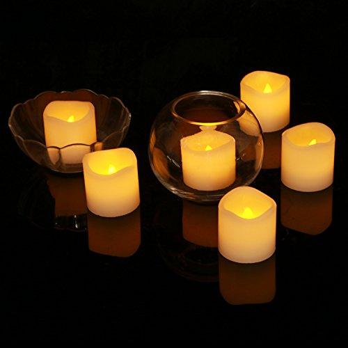 Homemory LED ティーライト 12個セット キャンドル アイボリー 本物そっくり 癒し雰囲気 間接 照明 常夜灯 パーディーや結婚式、誕生日 ヨガ 足元 (12個セット) …