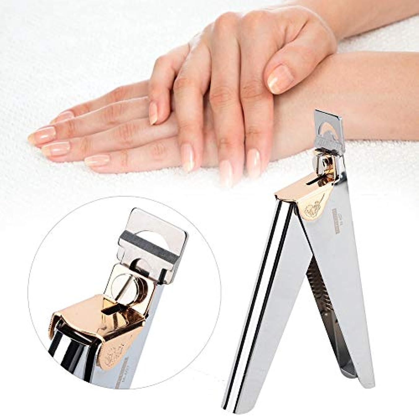 傷つきやすい罪人少数指爪 爪ケア ネイルチップクリッパーカッター フランス式 プロ U字型ネイルアートクリッパーはさみ - マニキュア偽ネイルチップカッター - ステンレス鋼