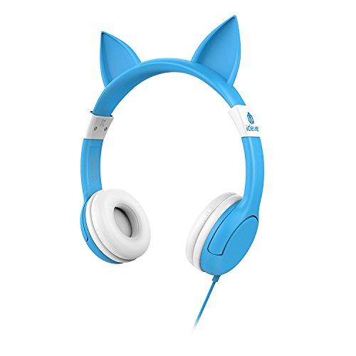 iClever キッズ ヘッドホン 密閉型ヘッドホン キッズ用 音量リミット制御 猫耳 素敵なギフト ブルー IC-HS07