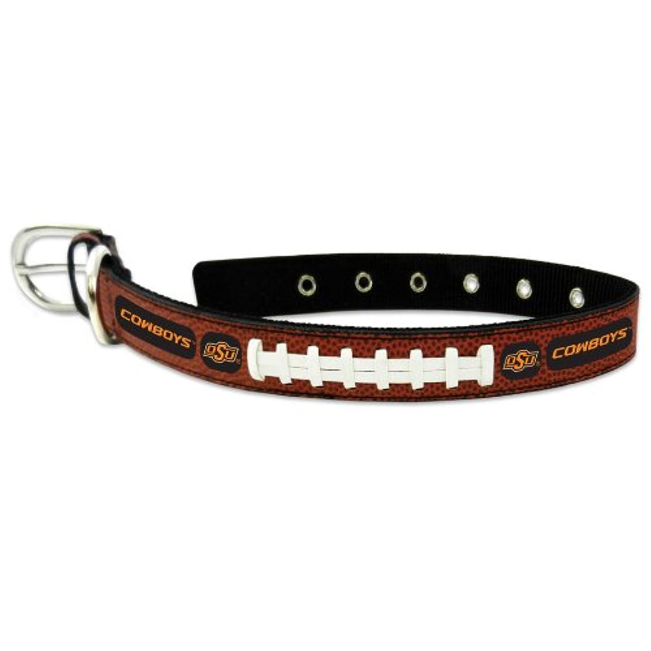 ご覧くださいデコラティブ処理Oklahoma State Cowboys Classic Leather Large Football Collar