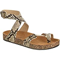 CLOVERLY Women's Sandals Slip On Ankle Wrap Cork Sole Footbed Platform Slide Sandal with Buckle