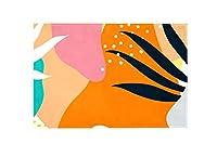 Carrozza カーペット ラグ マット 滑り止め 152×99cm おしゃれ 洗える 水玉柄 葉 水彩 絨毯 屋内 リビング ドア 部屋 かわいい インテリア 暖房対応